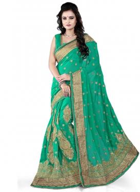 Best Sea Green Color Resham Work Designer Saree