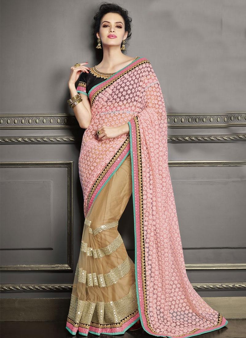 Best Sequins Work Half N Half Wedding Saree