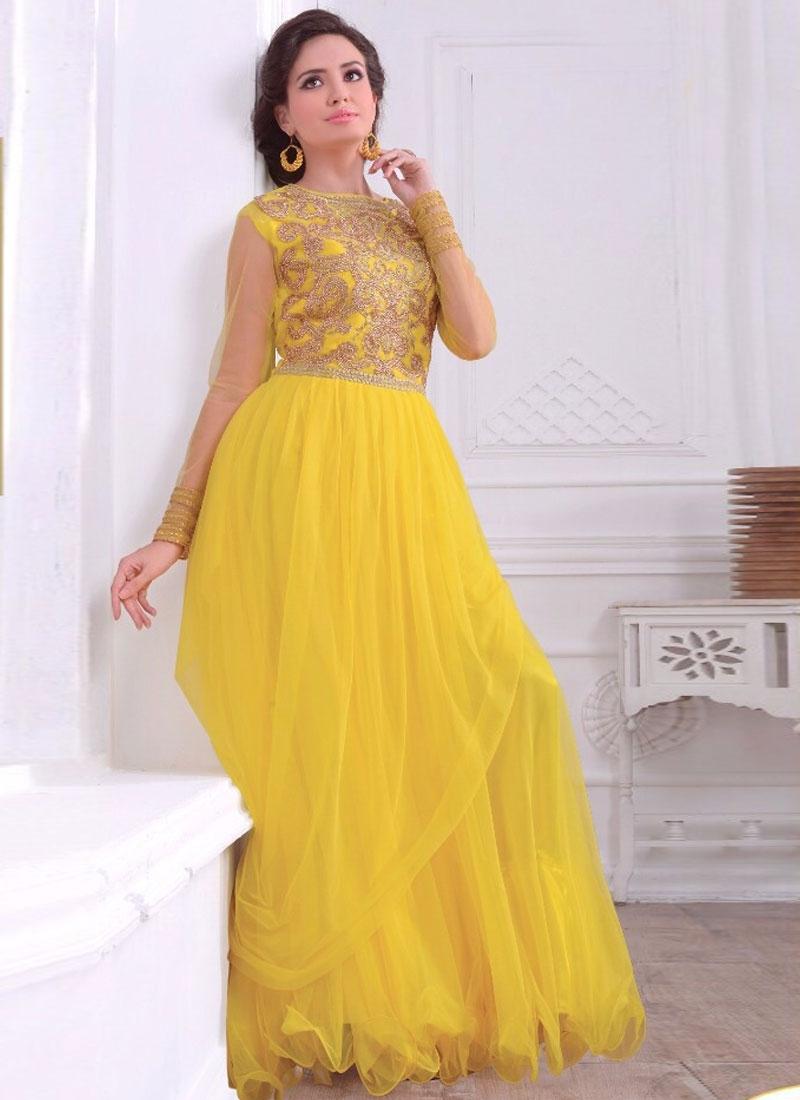 Best Stone Work Net Floor Length Designer Readymade Gown