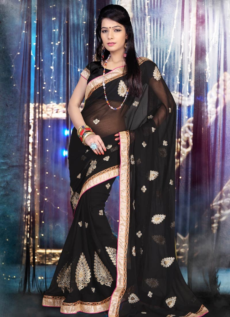 Bewildering Black Color Faux Chiffon Party Wear Saree