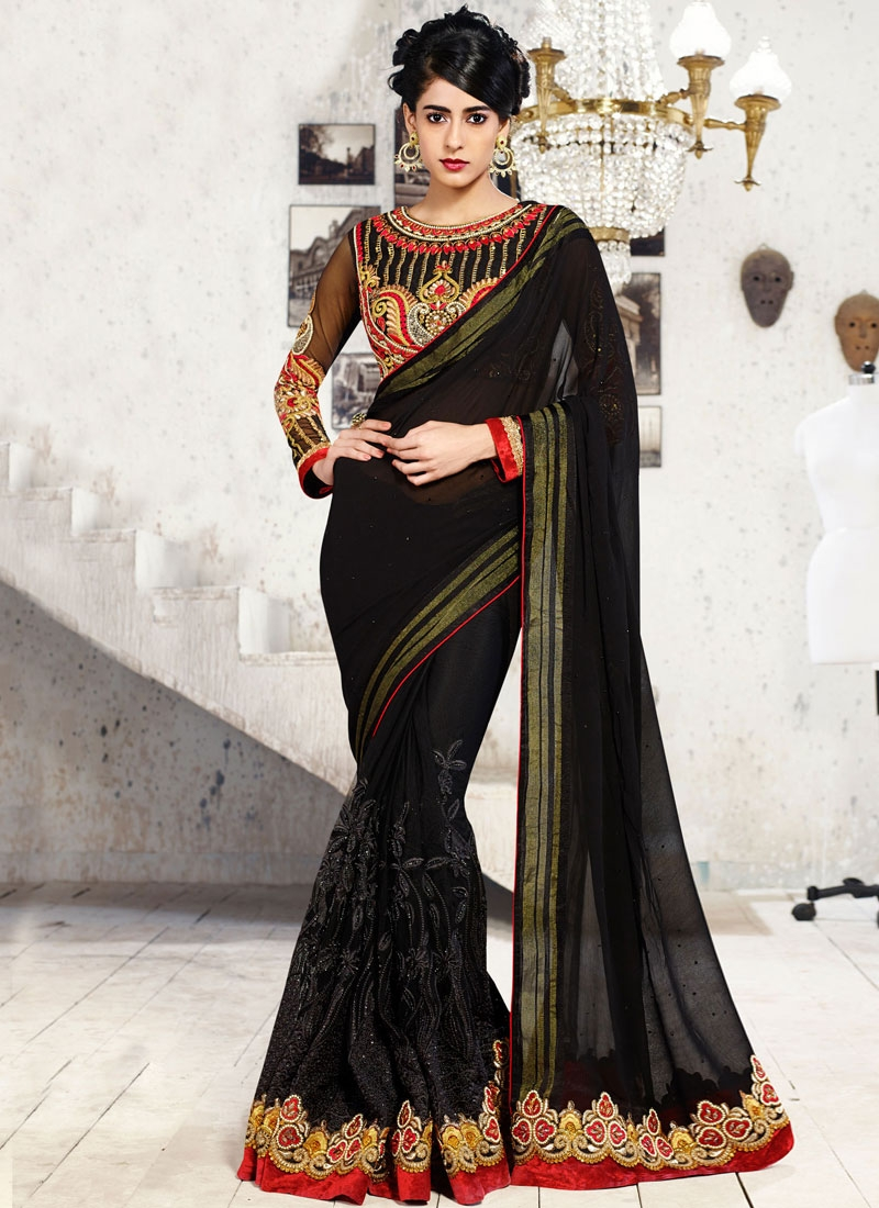 Bewildering Black Color Patch Border Work Party Wear Saree