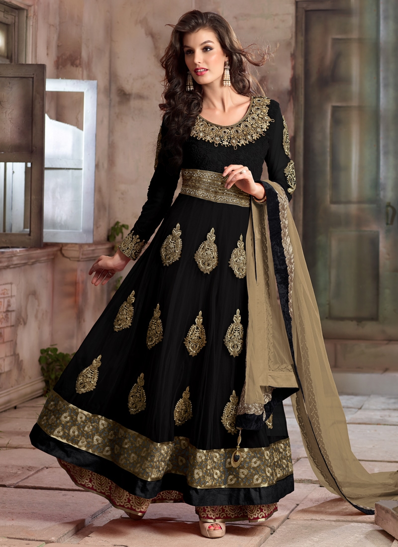 Bewildering Black Color Stone Work Long Length Designer Suit