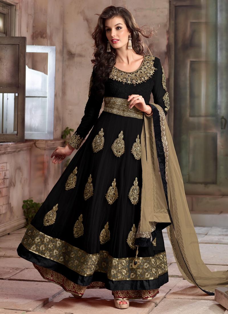 Bewildering Black Color Stone Work Long Length Designer Suit