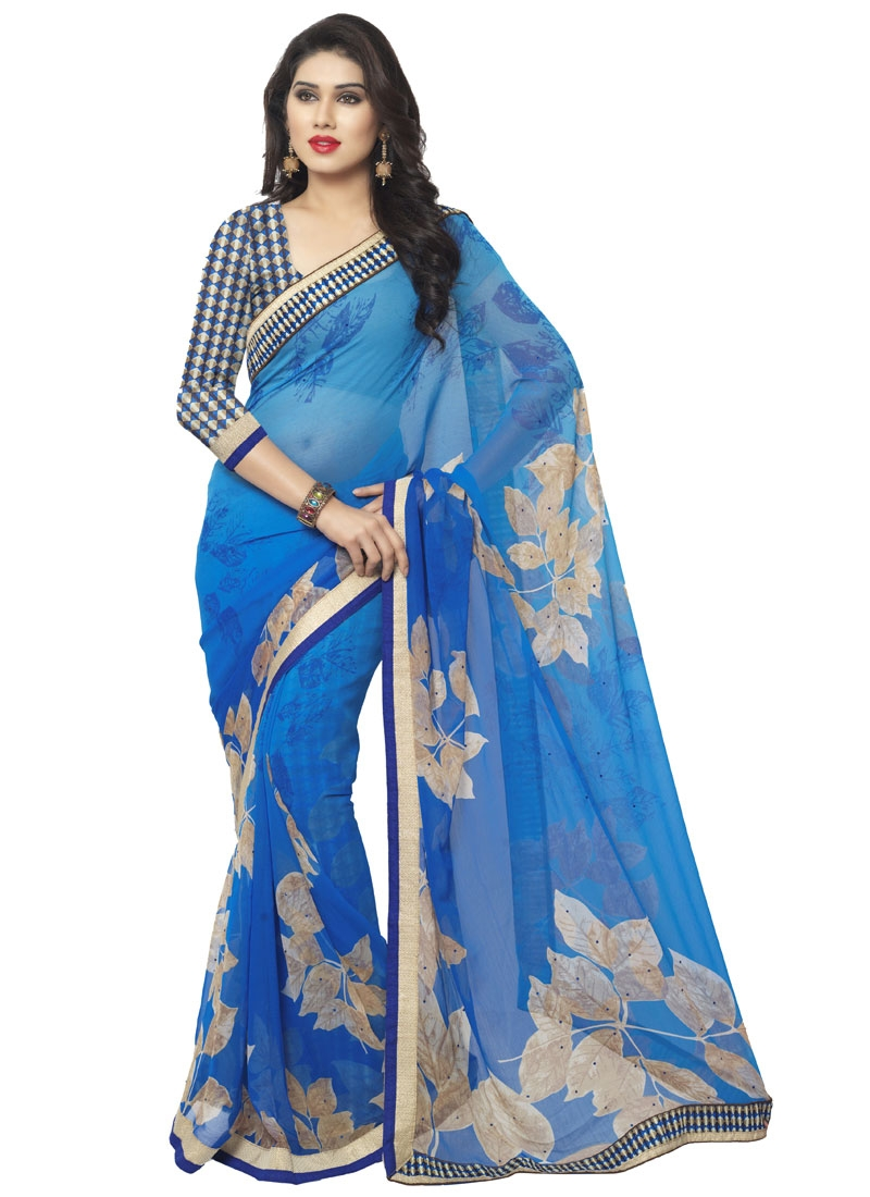 Bewildering Blue Color Stone Work Casual Saree