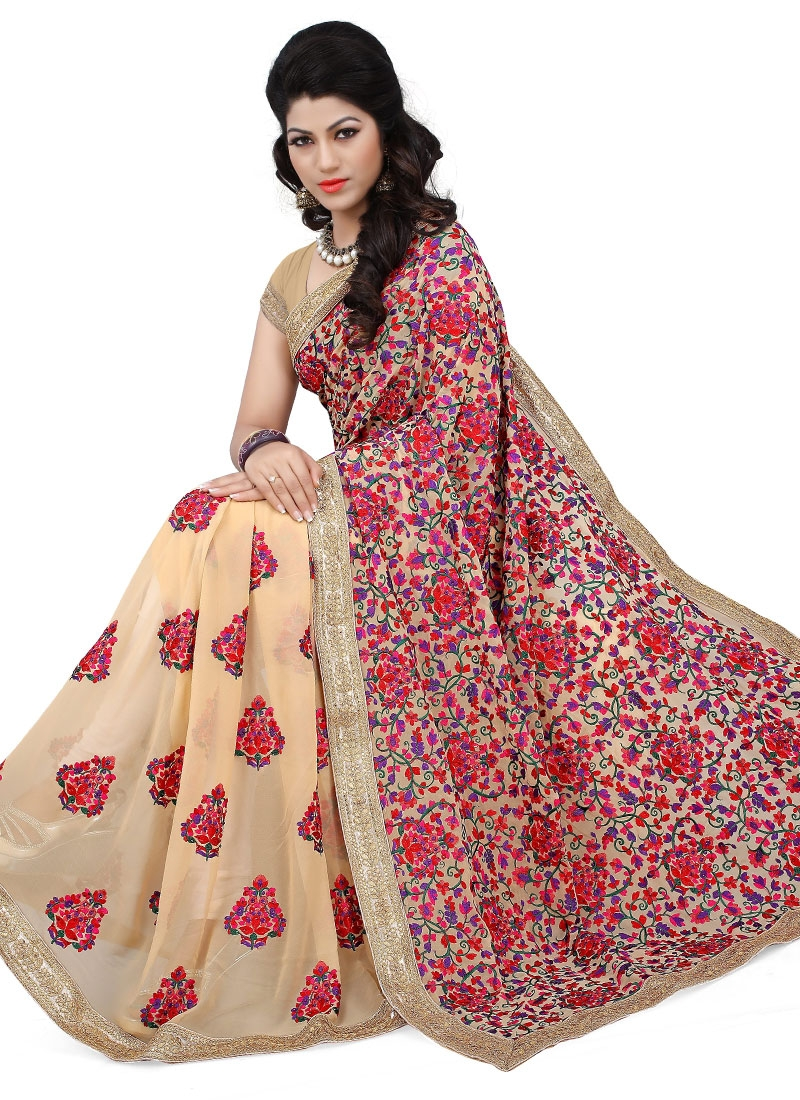 Bewildering Booti Work Faux Georgette Wedding Saree