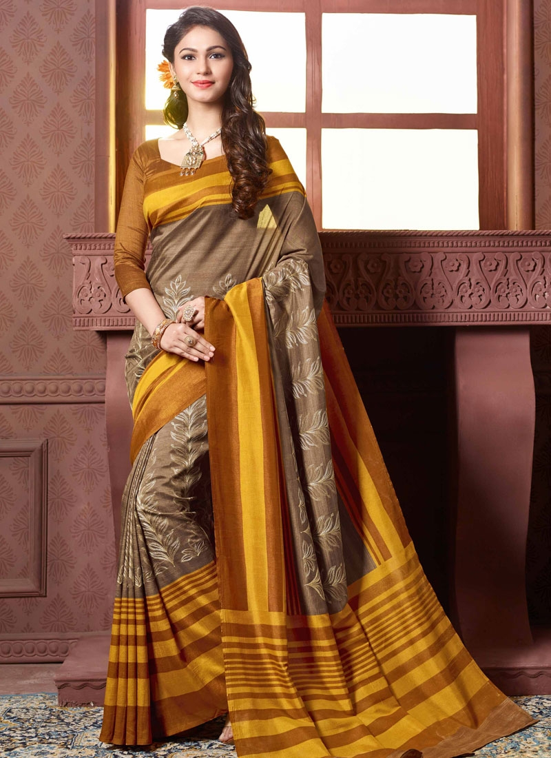 Bewildering Brown Color Resham Work Party Wear Saree