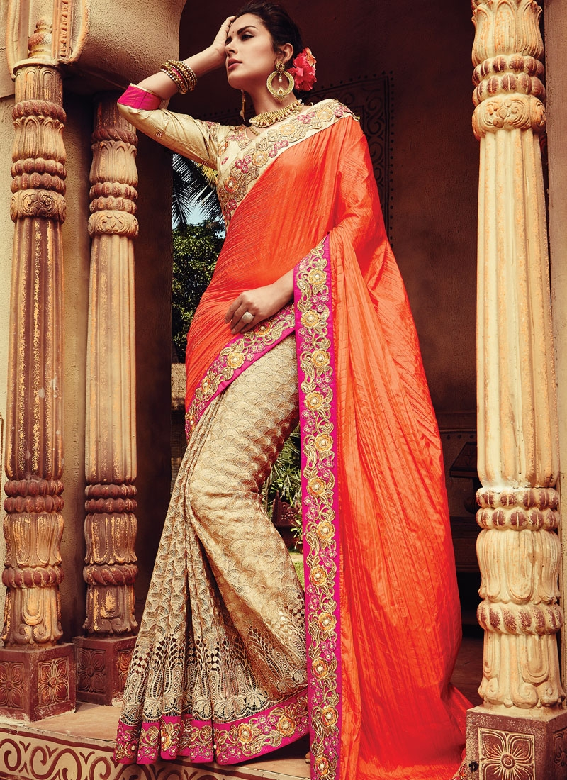 Bewildering Cut Work Half N Half Bridal Saree