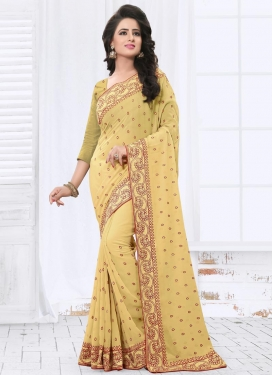 Bewildering Embroidered Work Faux Georgette Trendy Classic Saree