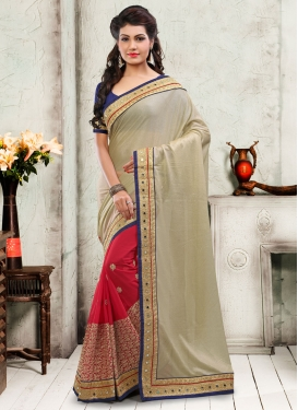 Bewildering Embroidery And Mirror Work Half N Half Wedding Saree