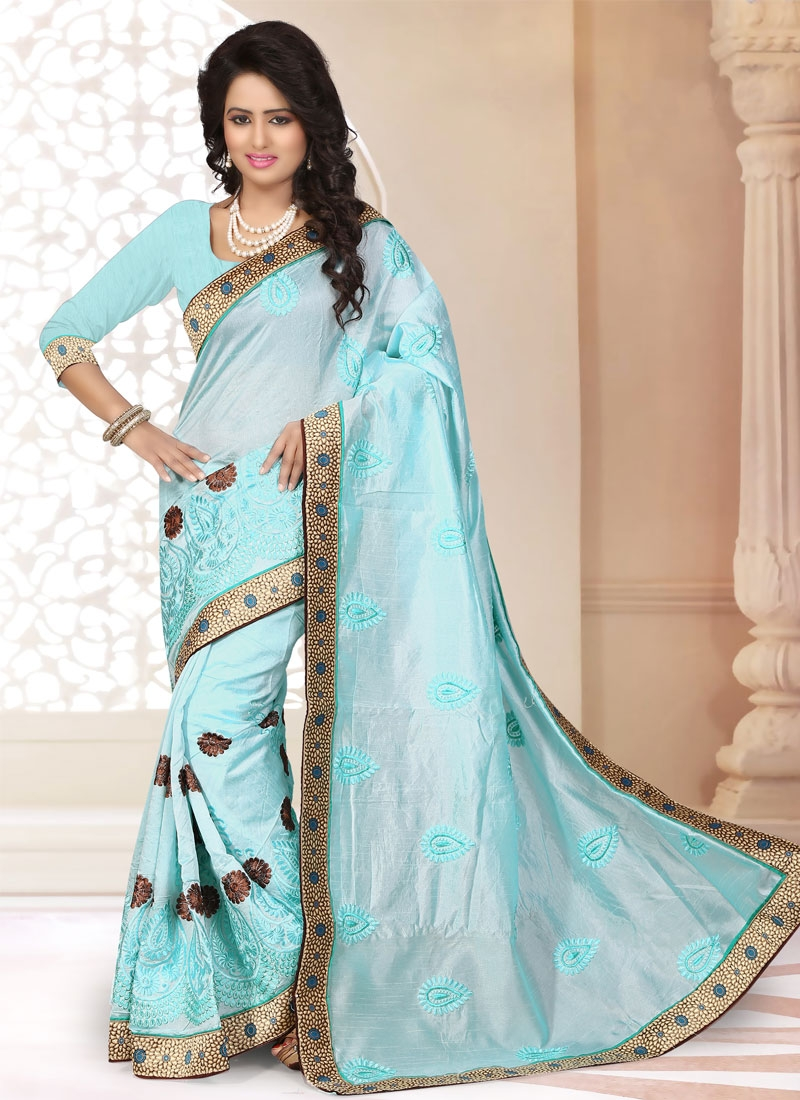 Bewildering Embroidery Work Chanderi Silk Party Wear Saree