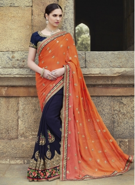 Bewildering Floral And Lace Work Half N Half Wedding Saree