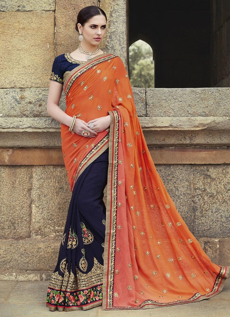 Bewildering Floral And Lace Work Half N Half Wedding Saree
