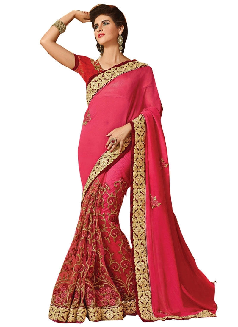 Bewildering Floral And Stone Work Bridal Saree
