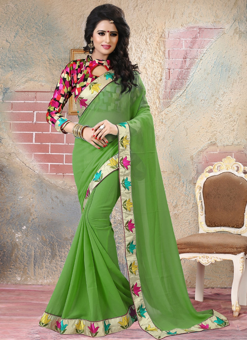 Bewildering Lace Work Faux Georgette Party Wear Saree