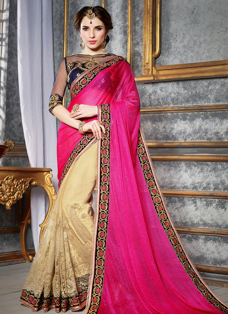 Bewildering Lycra And Net Half N Half Party Wear Saree