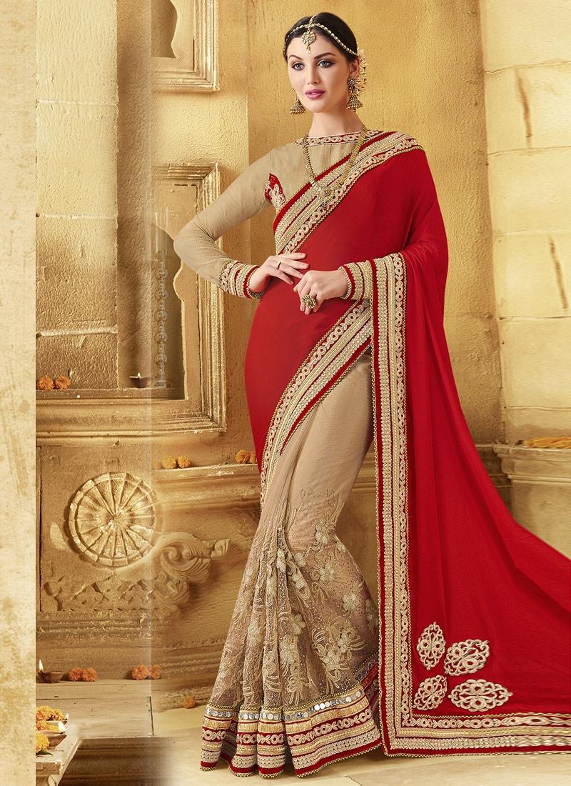 Bewildering Mirror Work Half N Half Wedding Saree