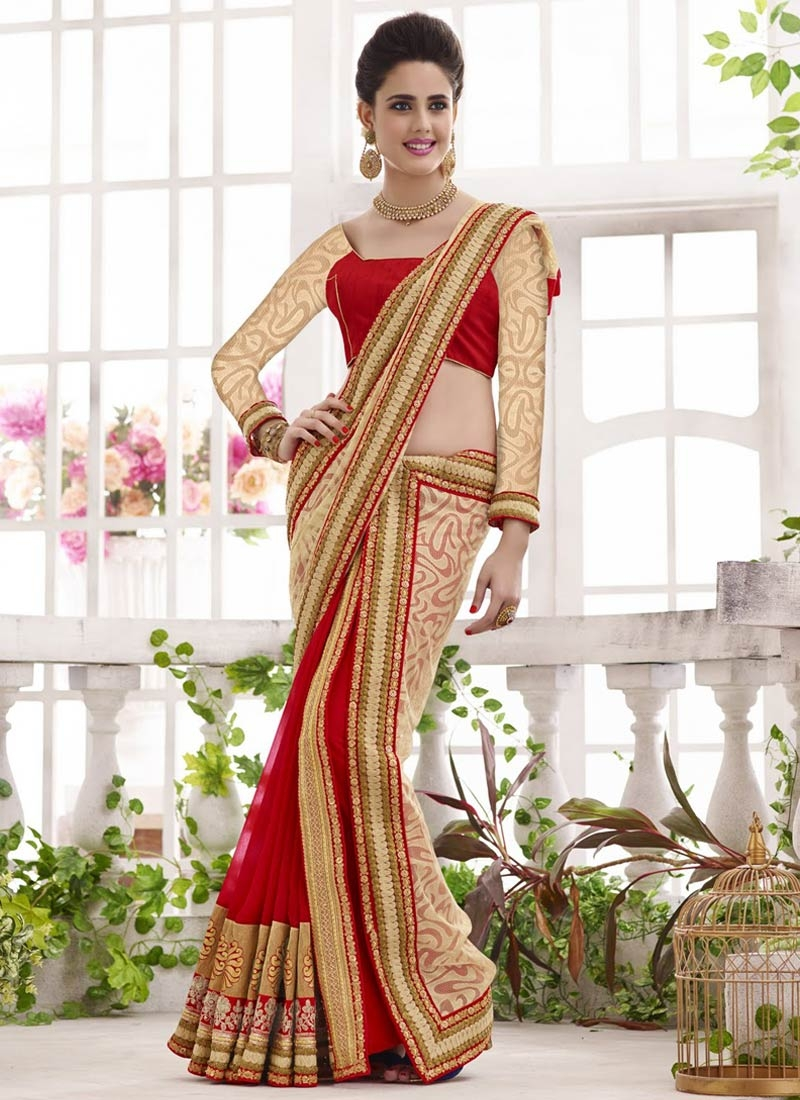 Bewildering Net And Faux Georgette Half N Half Wedding Saree