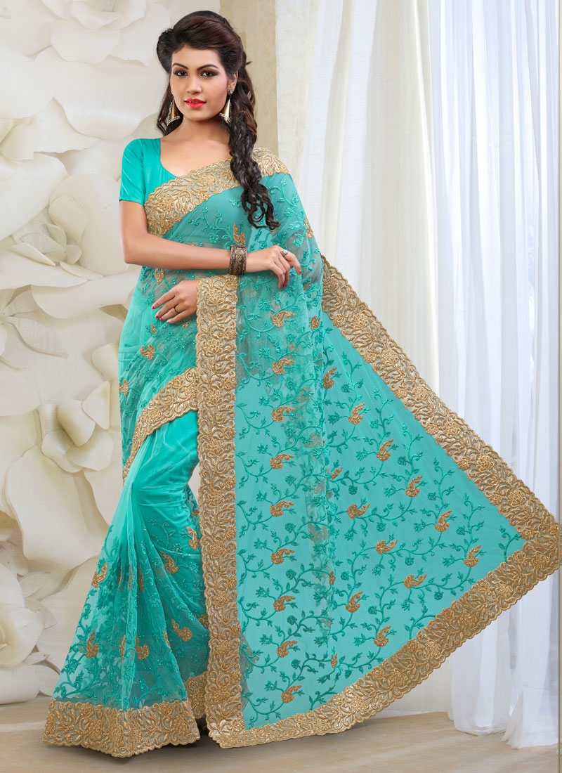 Bewildering Net Embroidery Work Bridal Saree