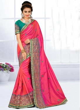 Bewildering Rose Pink and Sea Green Trendy Classic Saree For Bridal