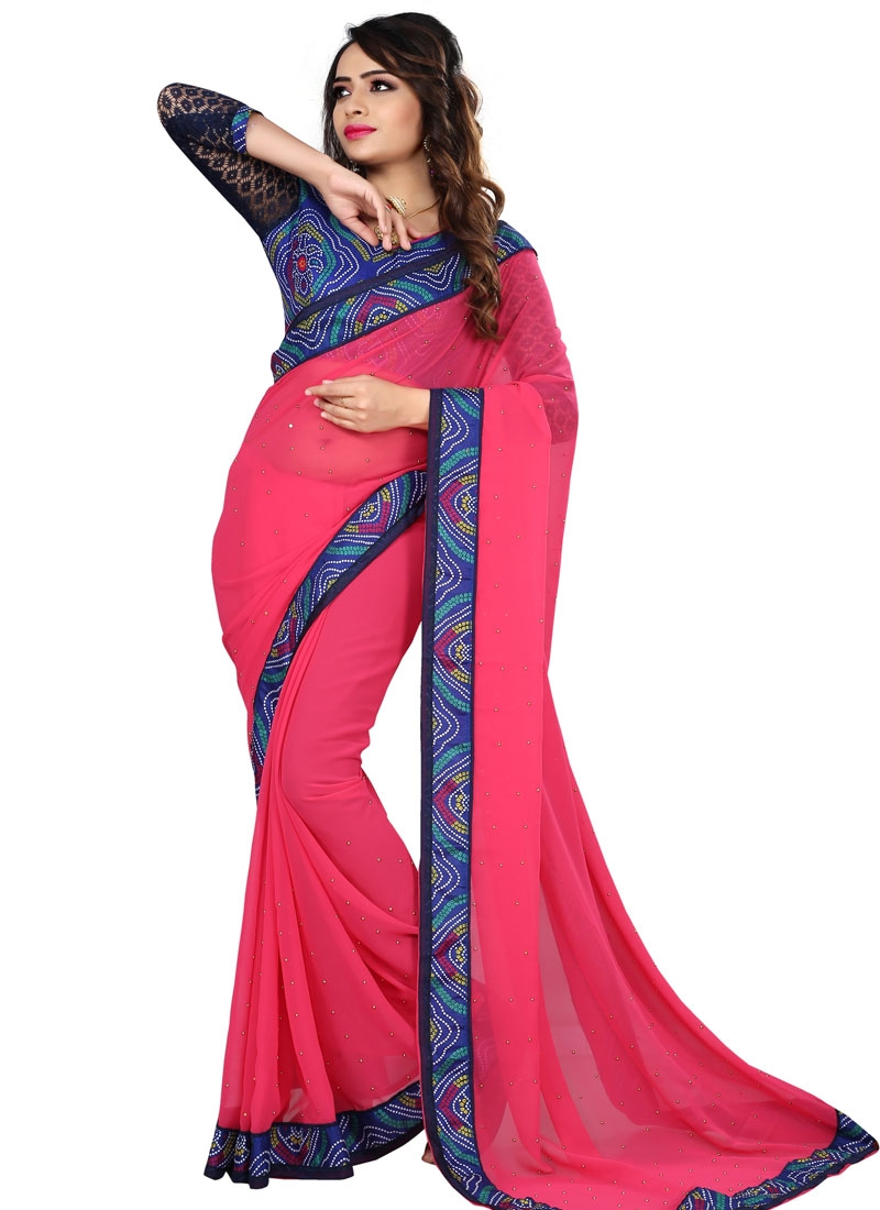 Bewildering Rose Pink Color Beads Work Casual Saree