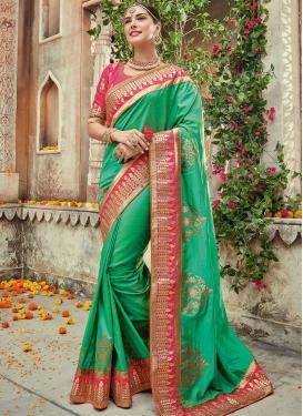 Bewildering Satin Silk Booti Work Designer Contemporary Style Saree