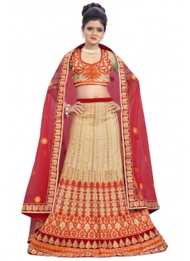 Bewildering Silk Beige and Red Trendy Lehenga Choli
