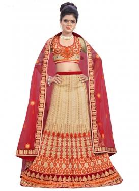Bewildering Silk Beige and Red Trendy Lehenga Choli