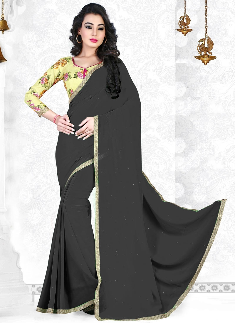 Bewildering Stone Work Black Color Casual Saree