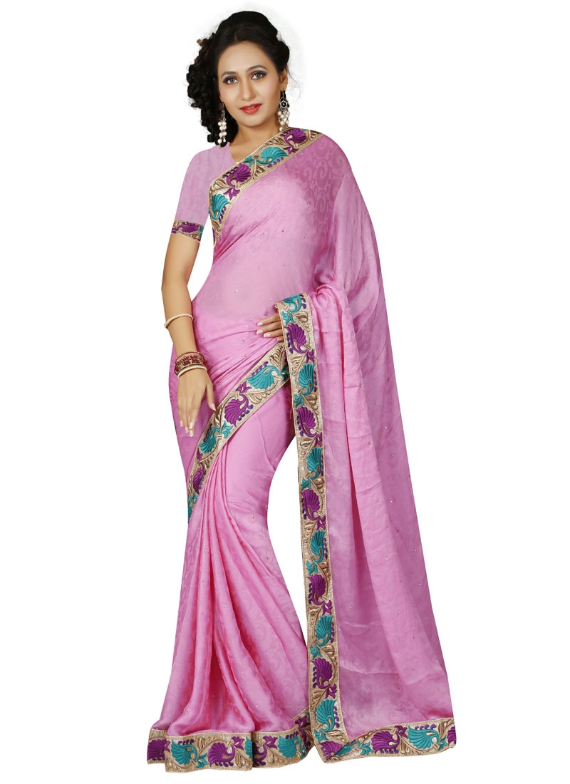Bewildering Stone Work Pink Color Casual Saree