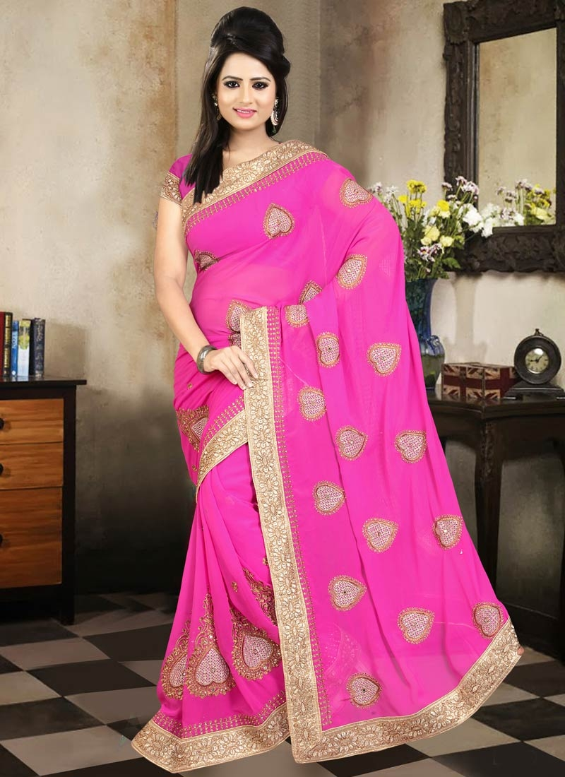 Bewildering Stone Work Rose Pink Color Party Wear Saree