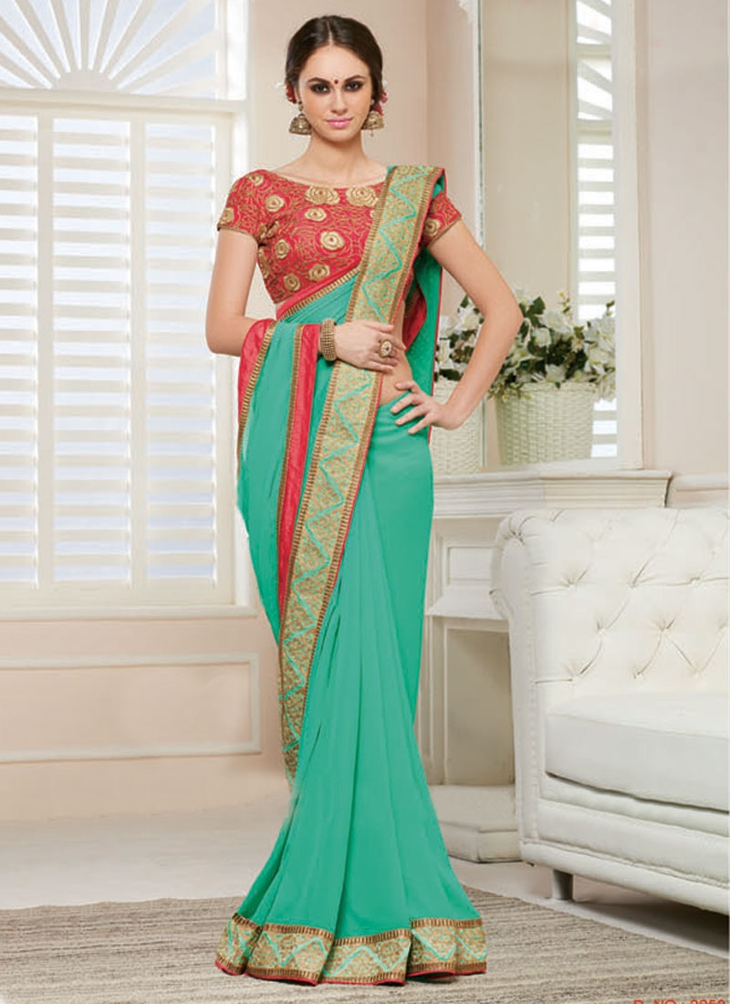 Bewitching Aqua Blue Color Party Wear Saree