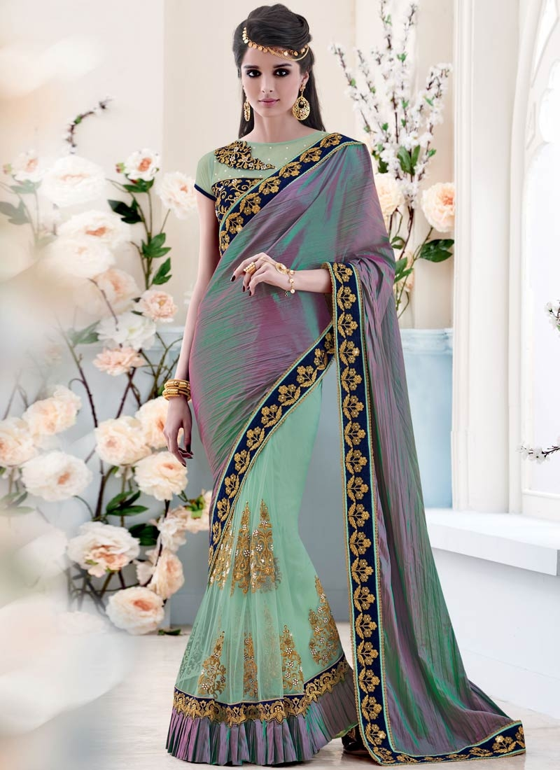 Bewitching Beads And Booti Work Half N Half Designer Saree