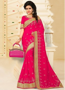 Bewitching Beads Work Pure Georgette Rose Pink Traditional Designer Saree For Ceremonial