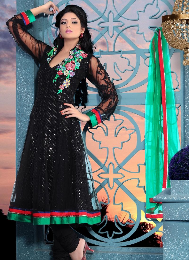 Bewitching Black Color Net Salwar Kameez