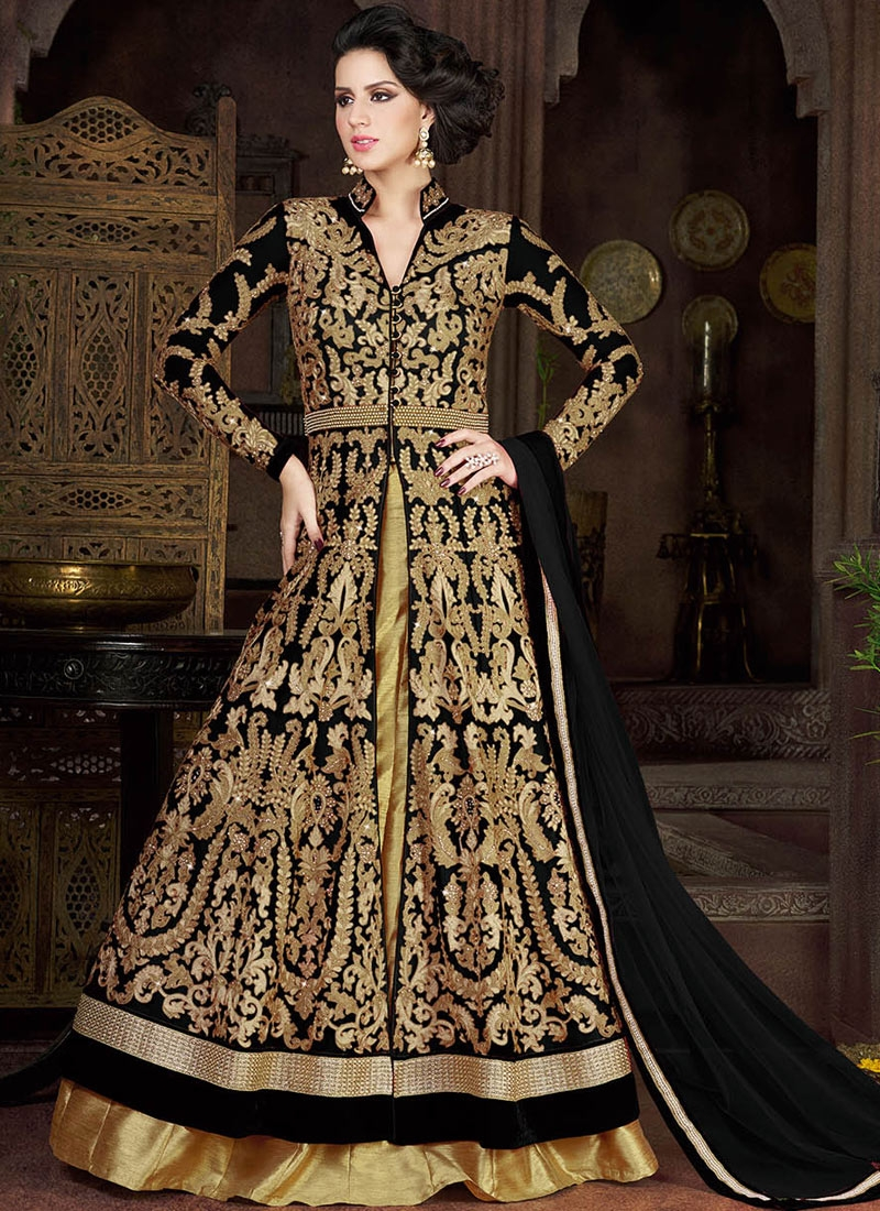 Bewitching Black Color Silk Kameez Style Designer Lehenga Choli