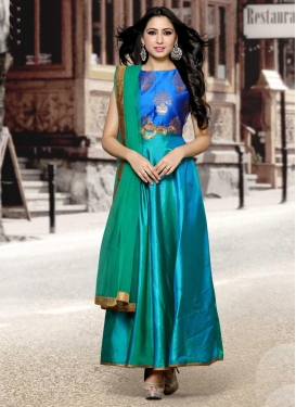 Bewitching Blue and Sea Green Tafeta Silk Trendy Designer Salwar Kameez For Festival