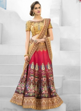 Bewitching Brown and Red Silk Trendy A Line Lehenga Choli