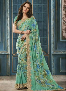 Bewitching  Digital Print Work Faux Georgette Trendy Saree