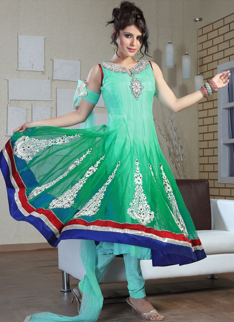 Bewitching Green And Turquoise Net Salwar Suit