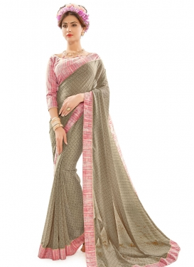 Bewitching Grey and Pink Contemporary Style Saree