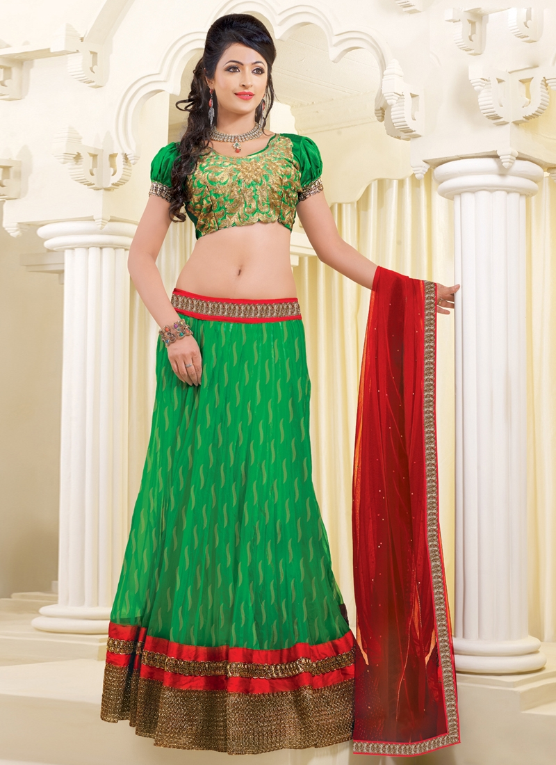 Bewitching Lace Work Net Wedding Lehenga Choli