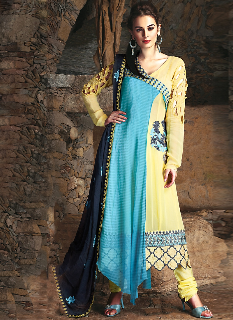 Bewitching Navy Blue And Gold Color Salwar Kameez