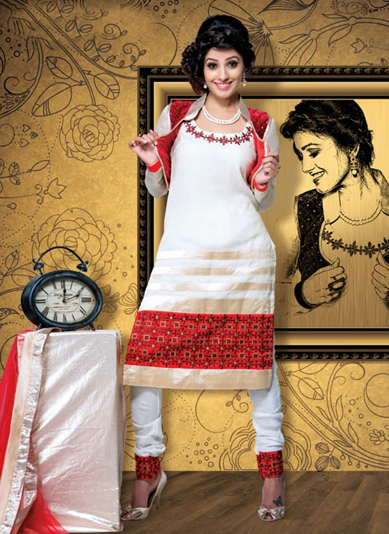 Bewitching Off White Color Designer Salwar Kameez