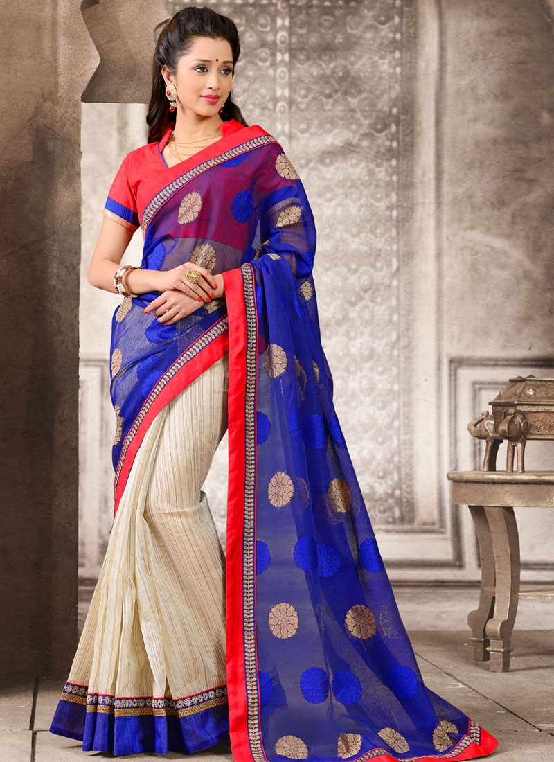 Bewitching Resham And Lace Work Printed Half N Half Casual Saree