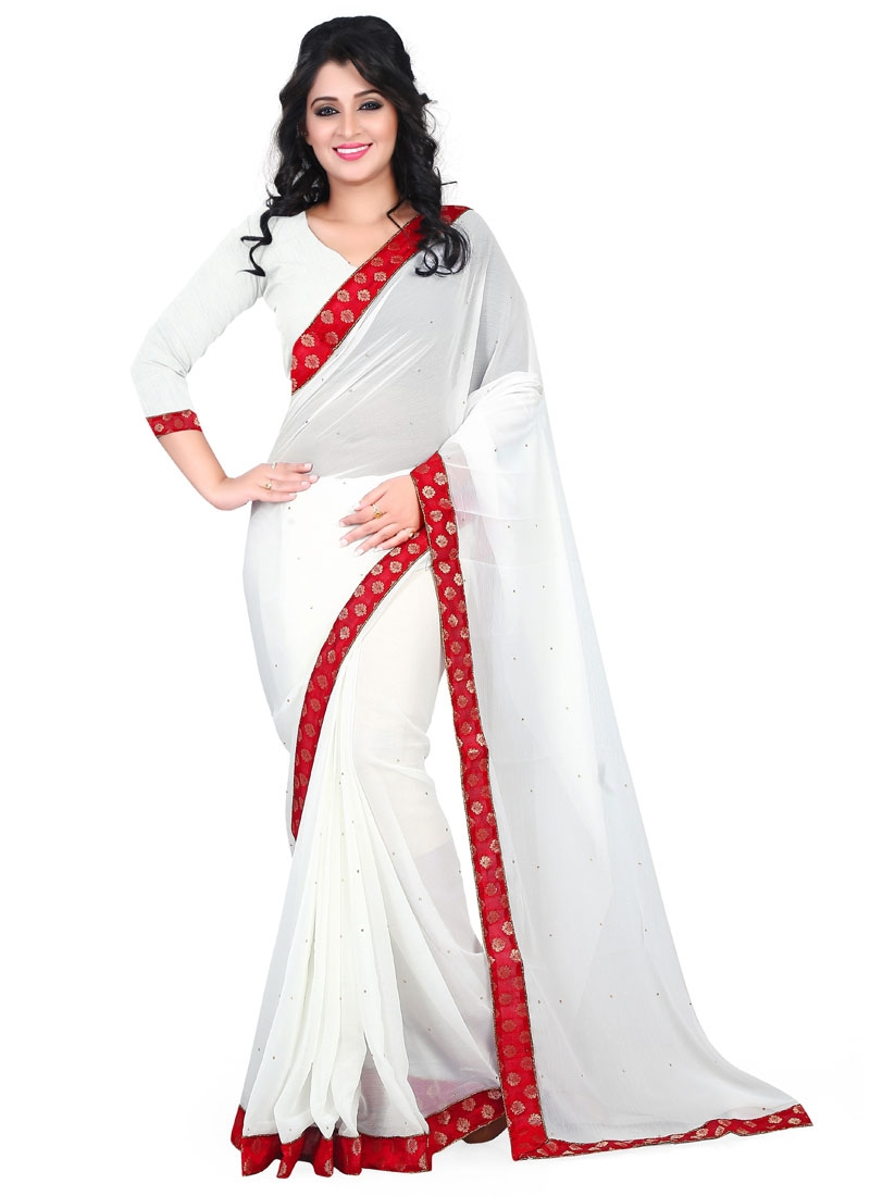 Bewitching White Color Casual Saree