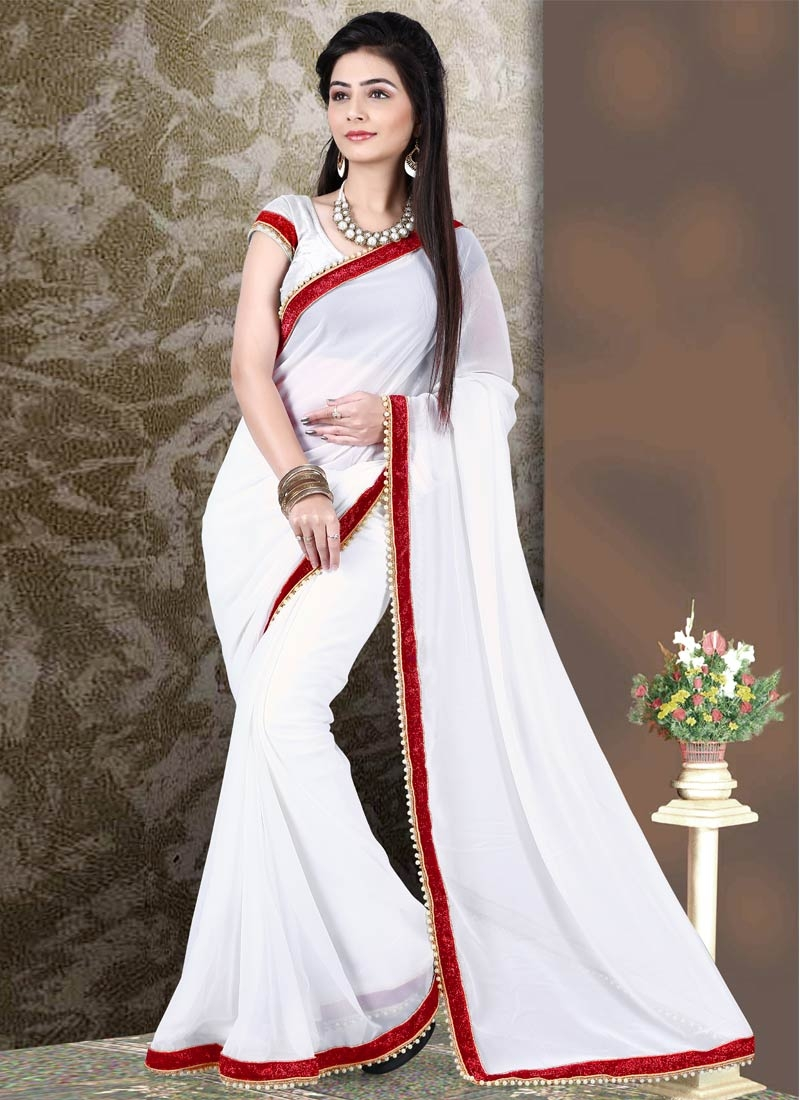 Bewitching White Color Faux Georgette Casual Saree