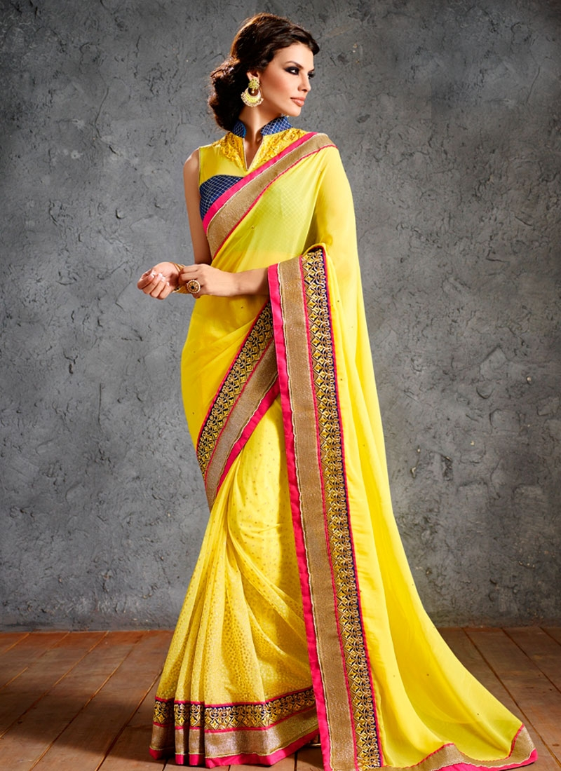 Bewitching Yellow Color Wedding Saree