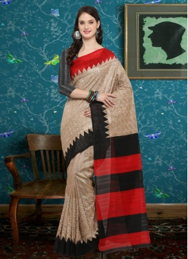 Bhagalpuri Silk Beige and Black Contemporary Saree