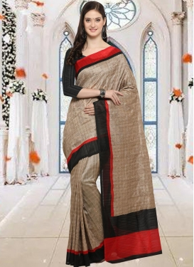 Bhagalpuri Silk Beige and Black Embroidered Work Classic Saree