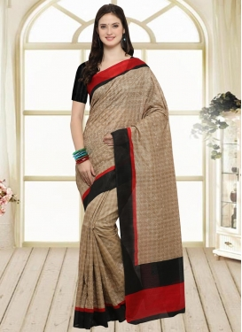Bhagalpuri Silk Beige and Black Trendy Classic Saree
